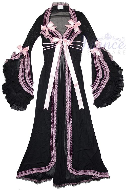 Inance Palm Beach Fancy Long Hooded Robe - Black/Light Pink-