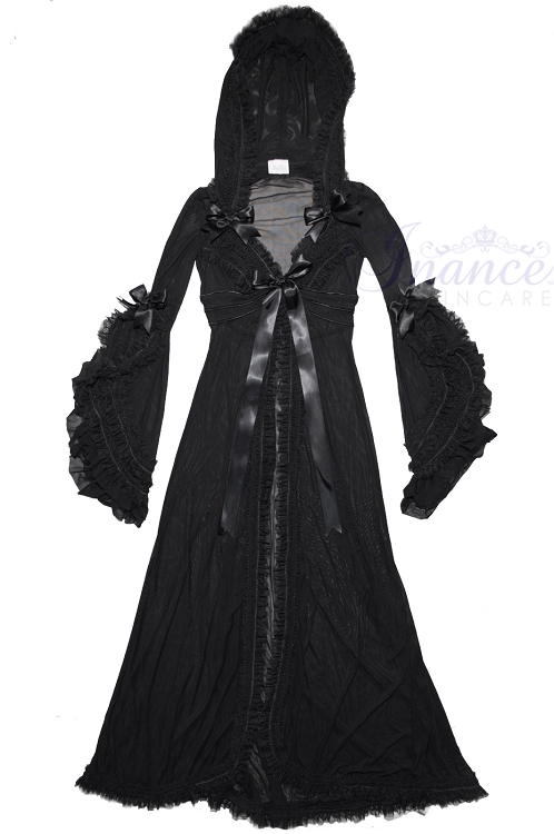 Inance Palm Beach Fancy Long Hooded Robe - Black