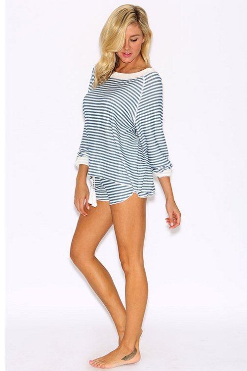 Inance French Terry Pullover Striped Top - Made IN Los Angeles
