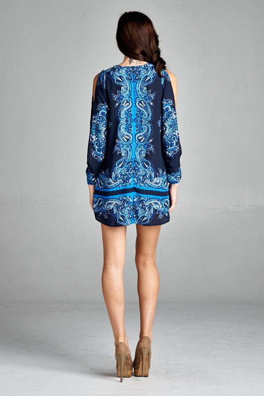 5bb0341bdaa Inance Cold Shoulder Tunic Top/Dress, Long Sleeve, Print, Made in ...