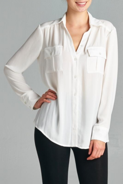 Inance Capsule Closet Blouse - Crisp White / Jet Black - Made In The USA