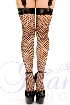 Inance Shades of Black Diamond Net Stockings - Black