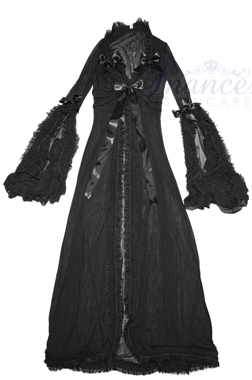 Inance Palm Beach Fancy Long Robe - Black