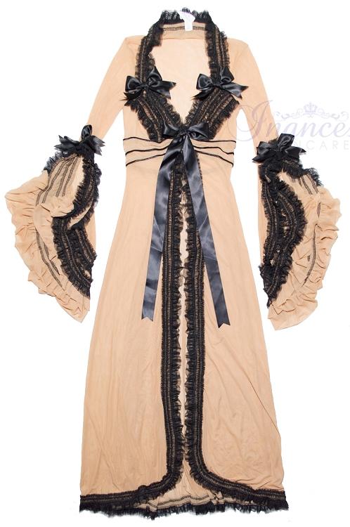 Inance Palm Beach Fancy Long Robe - Nude/Black-R169-nb
