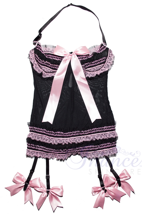 Inance Palm Beach Underwire Chemise with Garters - Black/Light Pink