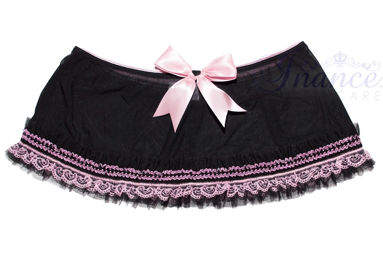 Inance Palm Beach Simple Ruffle Skirt - Black/Light Pink