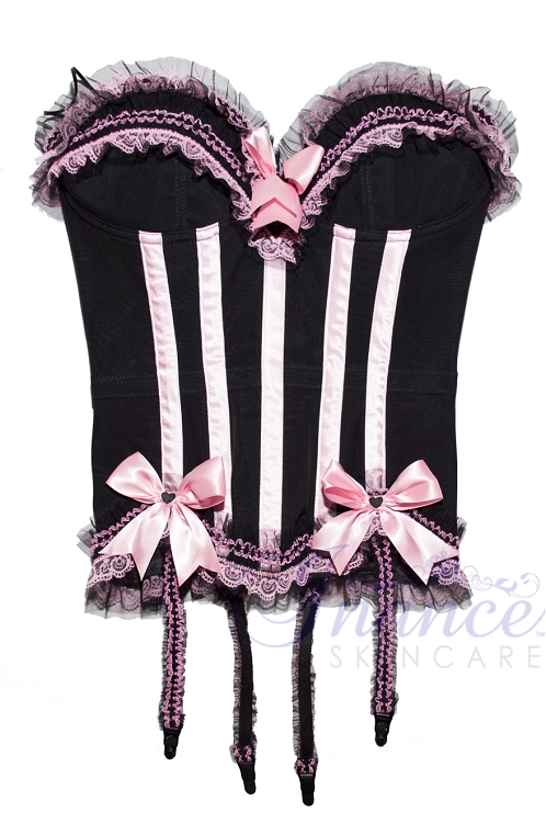 Inance Palm Beach Stretch Corset - Black/Light Pink