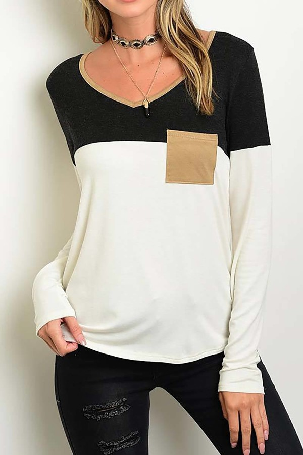 Smazy by Inance Suede Pocket Color Block Top