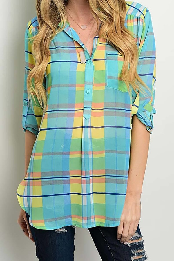 Smazy by Inance Plaid Button Sleeve Collared Shirt - 2 Color Choices