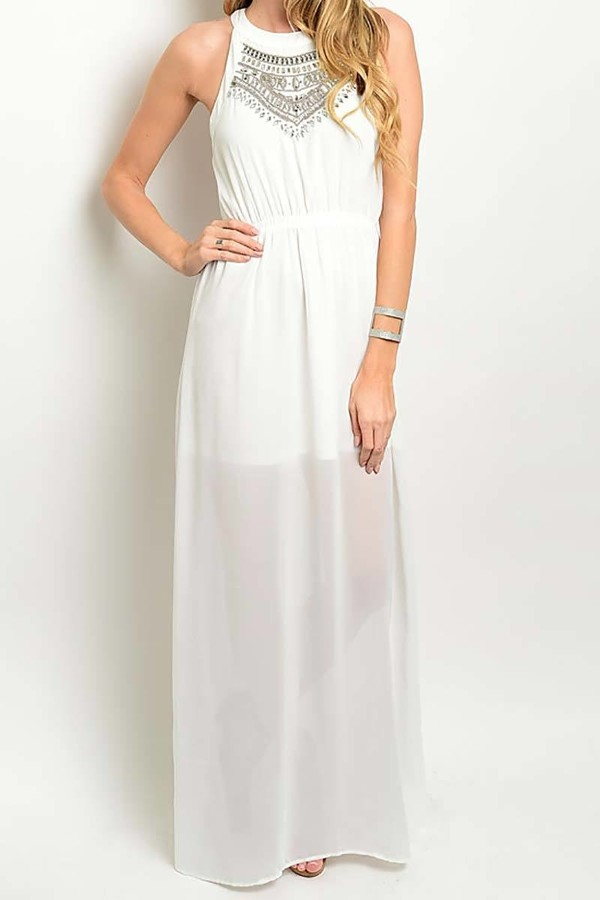 Smazy by Inance  Embroidered Lined Detail Maxi Dress