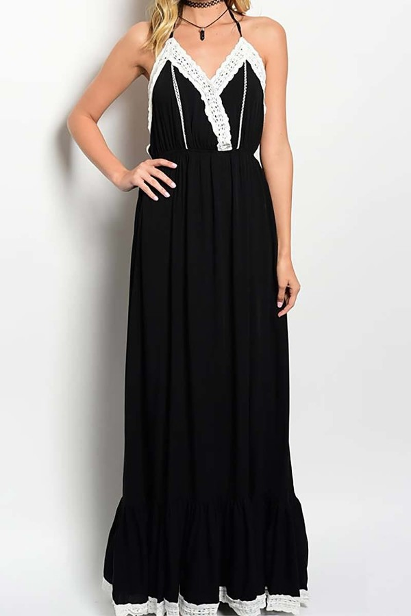 Smazy by Inance Halter Lace Trim Maxi Dress