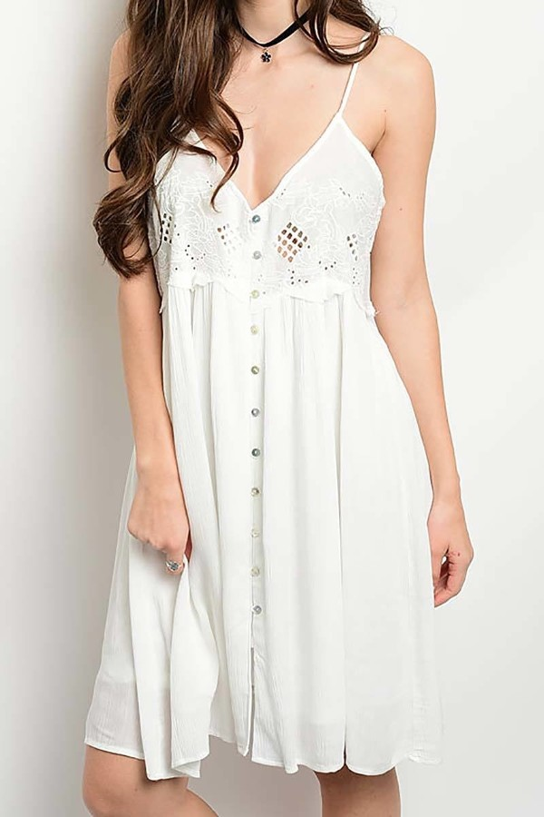 Smazy by Inance Button Down Lace Trim Dress
