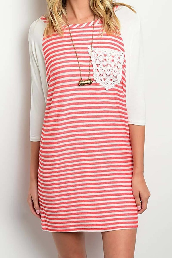Smazy by Inance Crochet Pocket Striped Dress - 2 Color Choices