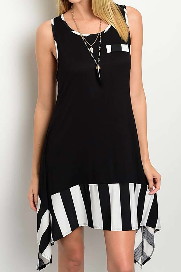 Smazy by Inance Contrast Loose Fit Striped Dress - 2 Color Choices