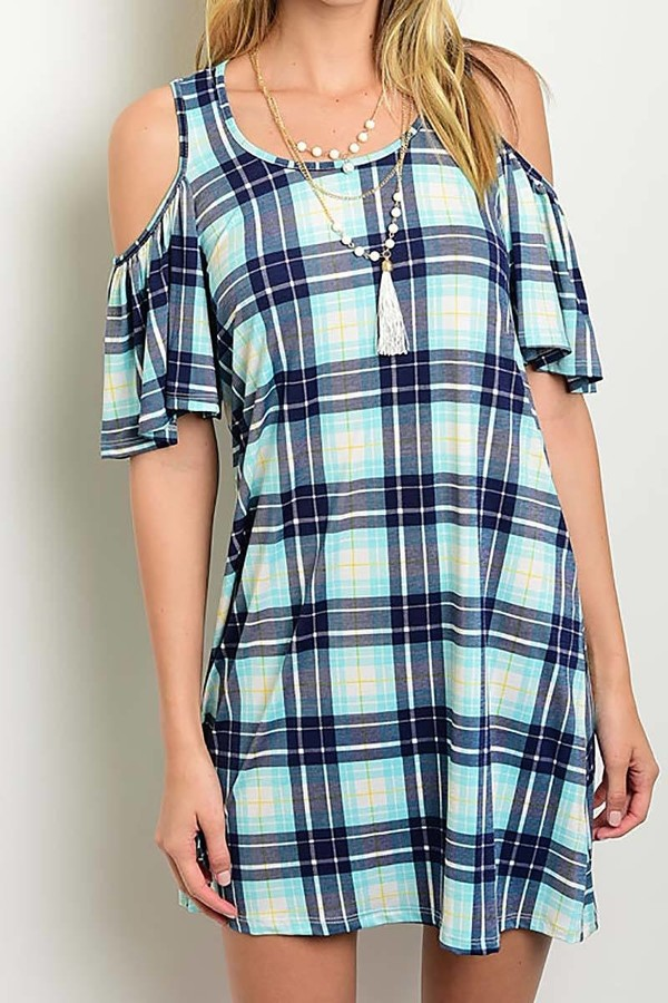 Smazy by Inance Cold Shoulder Plaid Dress