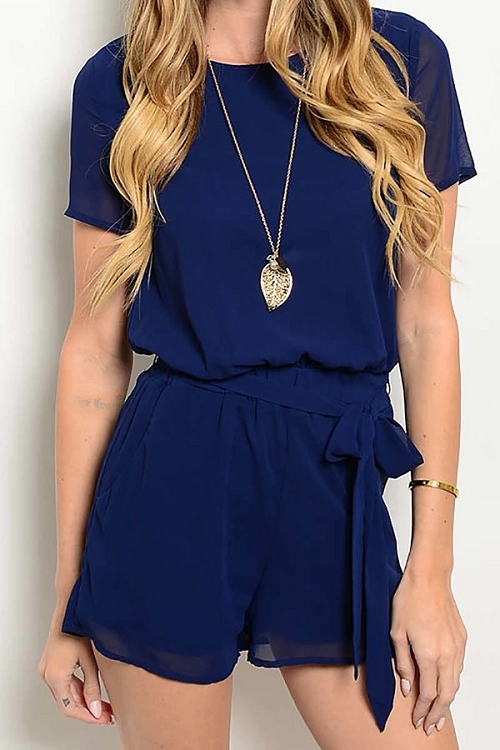 Smazy by Inance Tie Detail Open Back Romper