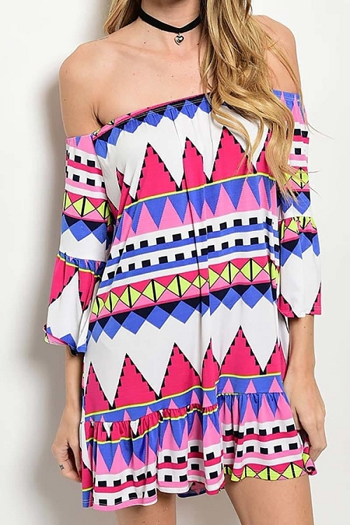 Smazy by Inance Off The Shoulder Multi Color Dress - 2 Color Choices