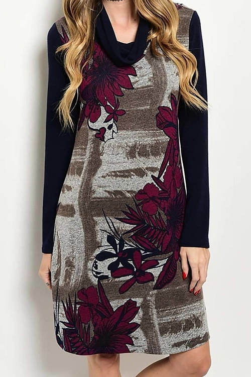 Smazy by Inance Open Cowl Neck Floral Print Dress