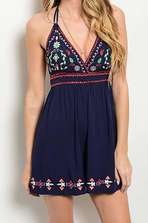 Smazy by Inance Fit & Flair Embroidered Romper