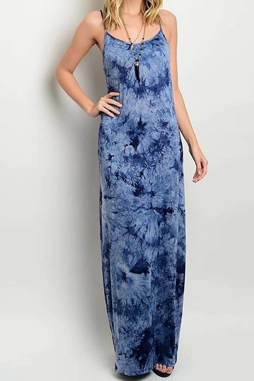 Smazy by Inance Tie Dye Thin Strap Maxi Dress - 2 Color Choices