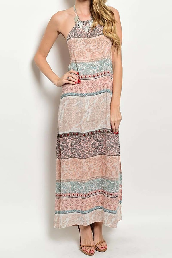 Smazy By Inance Loose Fit Halter Print Maxi Dress