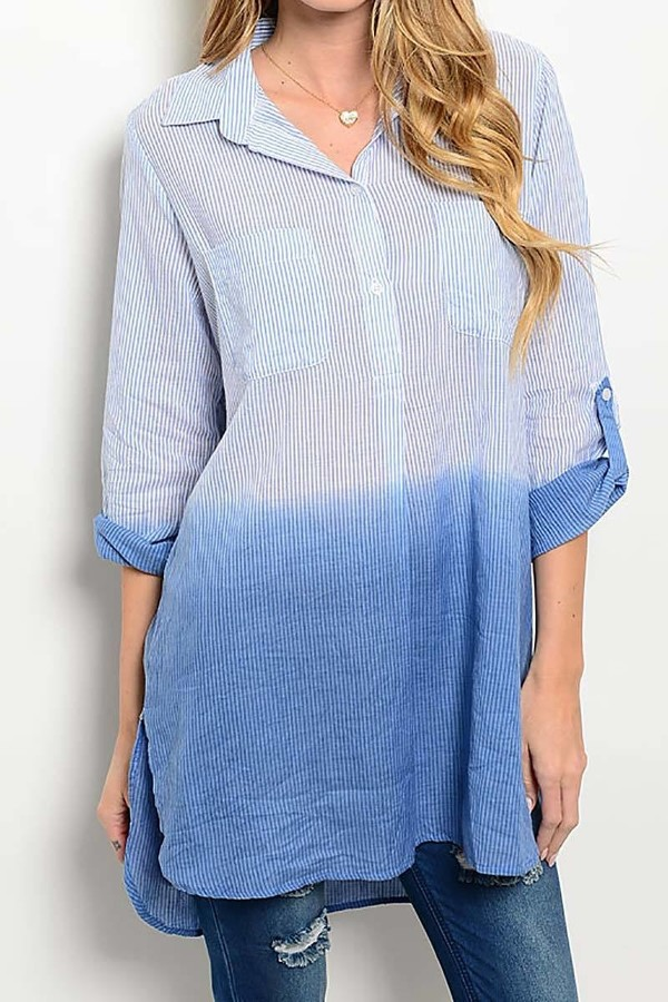 Smazy by Inance Ombre Tie Dye Fold Up Sleeve Loose Fit Top