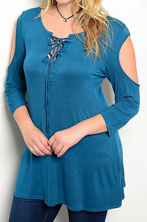 Smazy by Inance Curvy Plus Size Tie Neck Open Shoulder Tunic Top