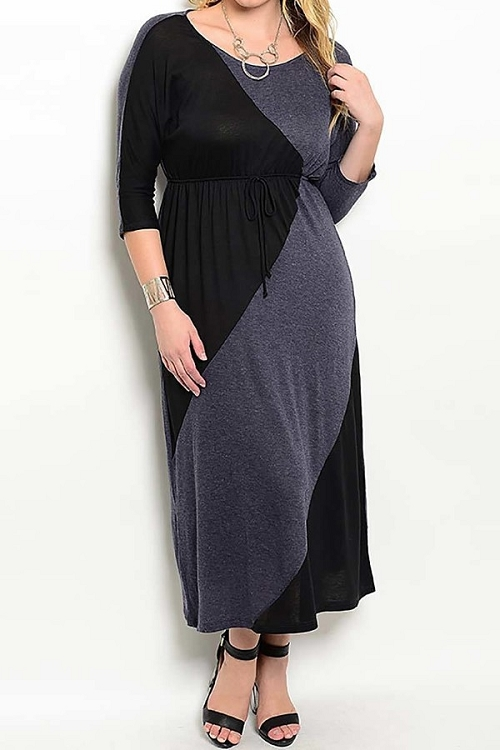 Smazy by Inance Curvy Plus Size Color Block Maxi Dress - 2 Color Choices