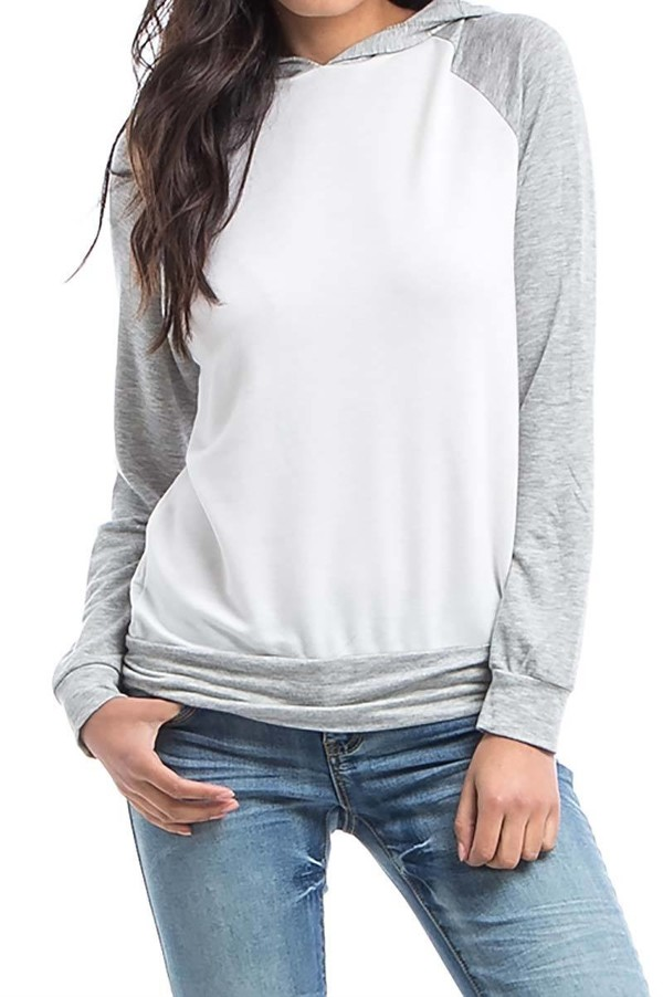 Smazy by Inance Grey Hoodie Pullover Sweatshirt Top