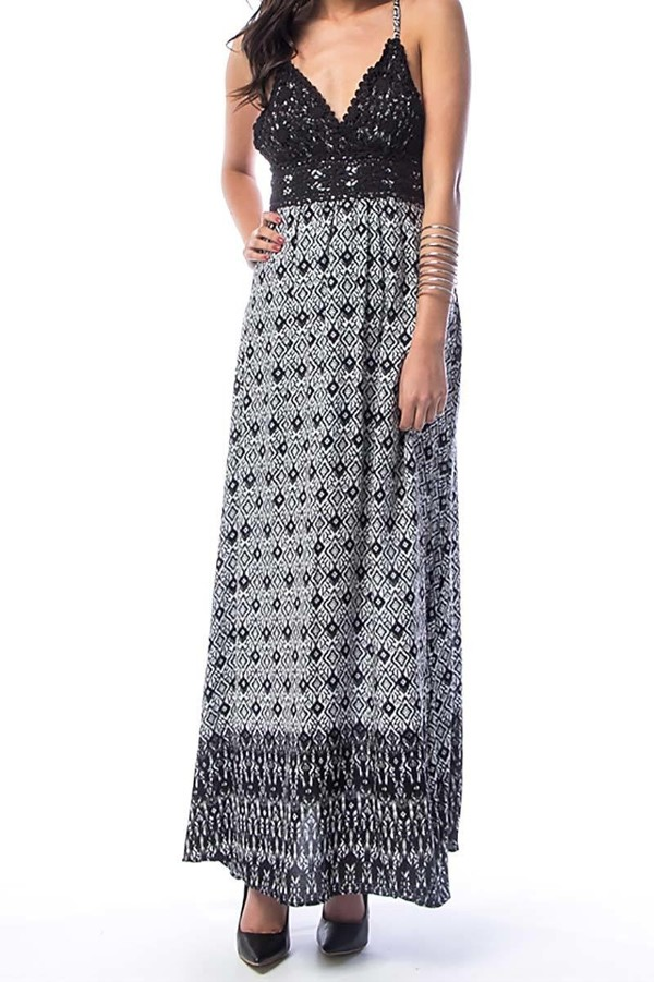 Smazy by Inance Print Open Back Maxi Dress