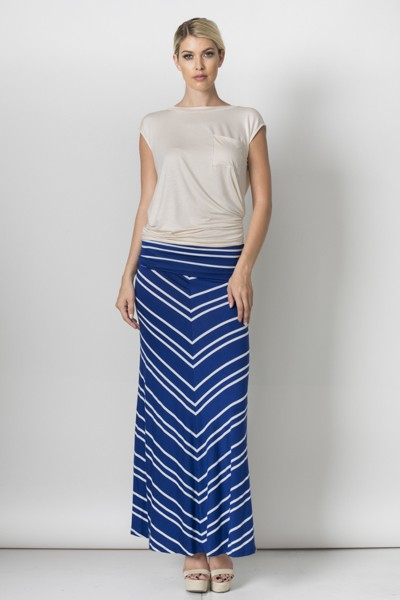 Made In The USA- Inance Striped V Maxi Skirt- 2 Color Coices