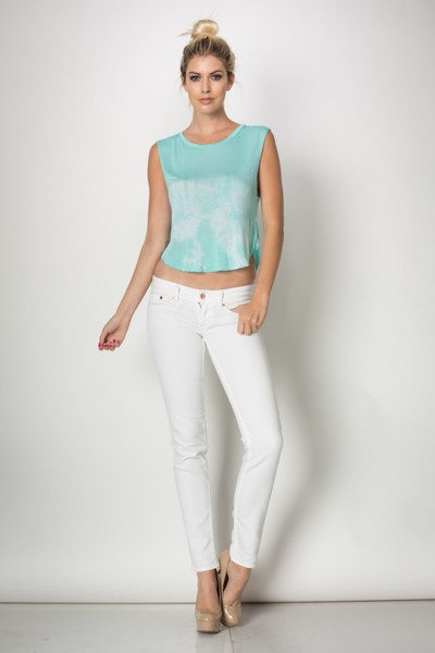 Inance Adorably Yours Tie Dye Crop Top - Summer's Day Blue / Coolest Coral - Made In The USA