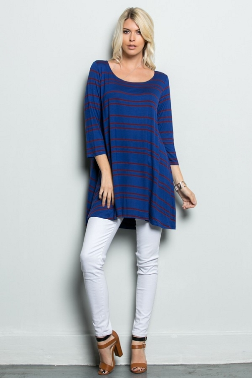 Inance Take Control Striped Tunic Top - Deep Blue Sea - Made In The USA