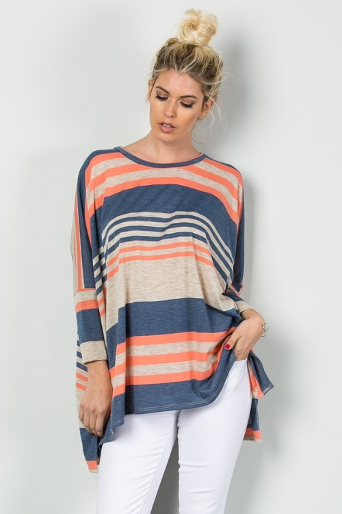 2b5dd68be09 Inance Lazy Sunday Striped Tunic Top - All the Blues / Coral and ...