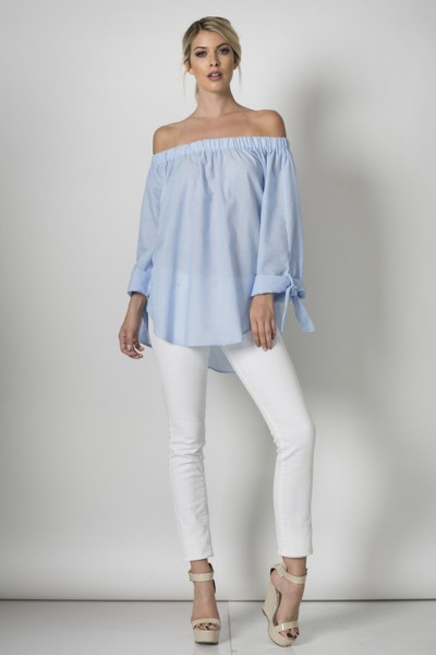 Inance Destination Fabulous Peasant Top - Serenity Blue - Made In The USA