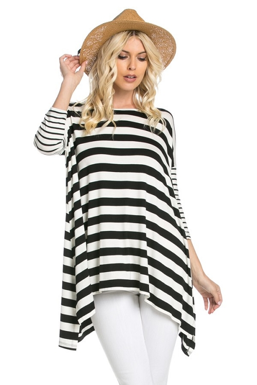 Inance Hold Me Tonight Striped Top - Noir et Blanc -  Made In The USA