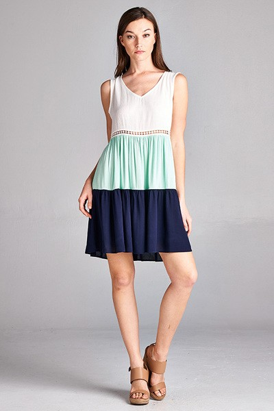 Inance Color Block Gauze Ruffle Dress