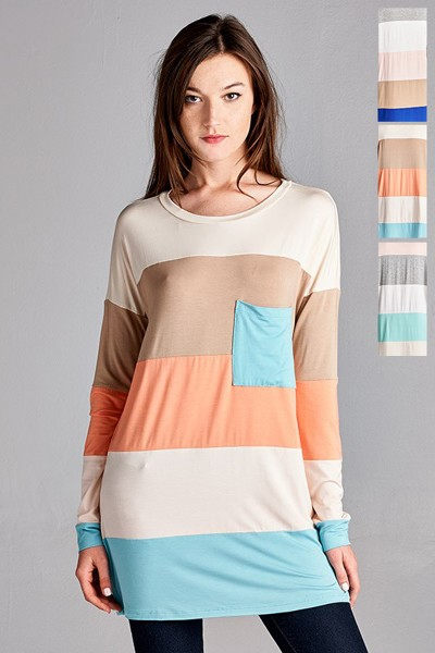 Inance Color Block Pocket Front Long Sleeve Shirt - 3 Color Choices