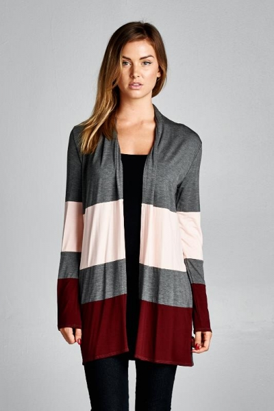 Inance Mended by You Striped Cardigan Fire / Ice - Made In The USA