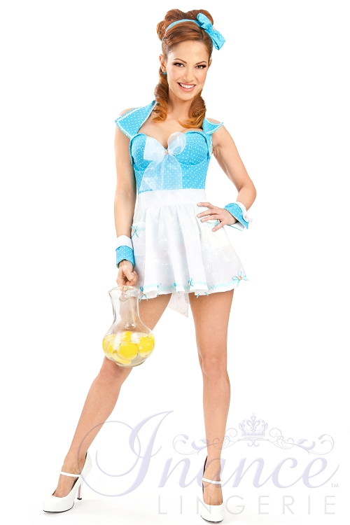 Inance Perfect Wife Mariah Apron - White with Turquoise Bows