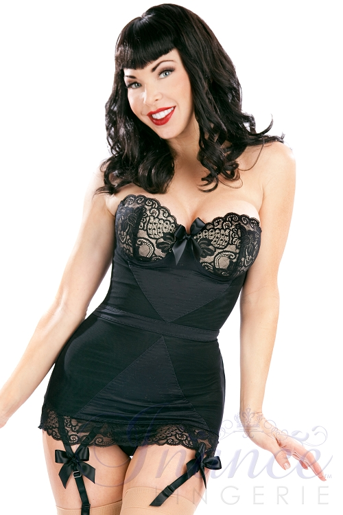 Inance Shades of Black Stretch Corset with Lace Cups - Black Powerknit