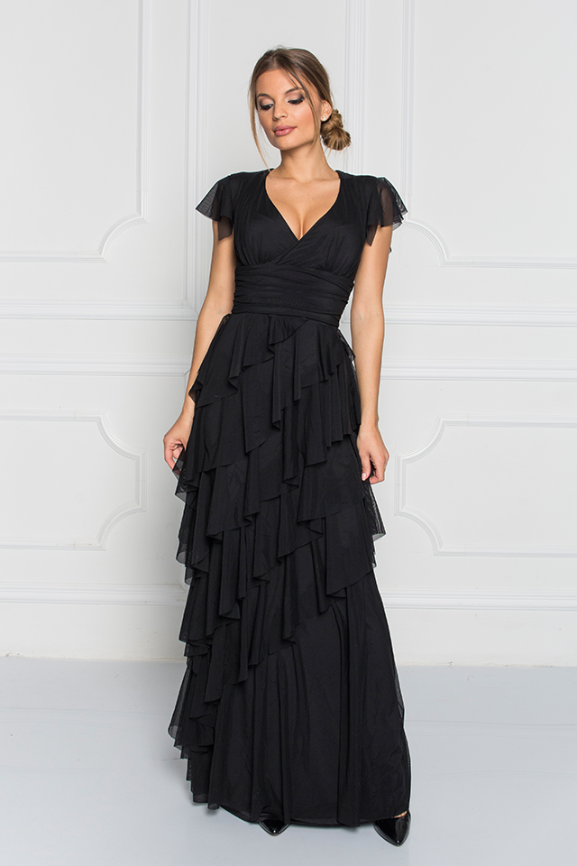 Sugarbird Design for Inance Elegant Ruffled Maxi Dress