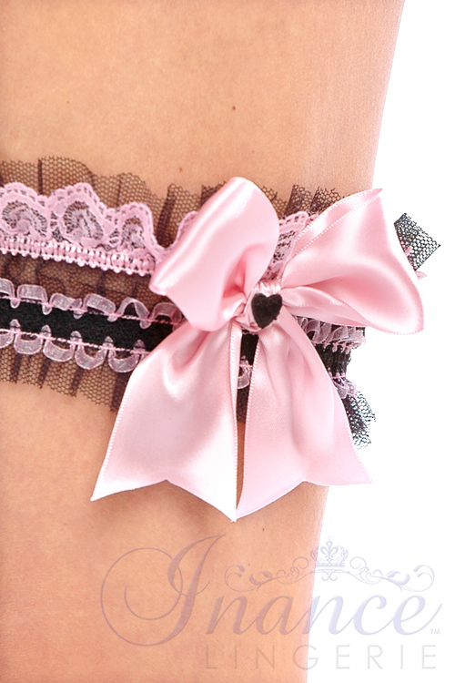 Inance Palm Beach Leg Garter/Choker - Black/Light Pink