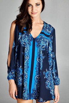 Inance Cold Shoulder Tunic Top/Dress, Long Sleeve, Print, Made in the USA