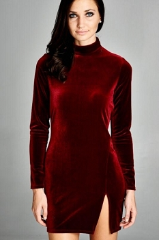Inance Burgandy Velvet Mini Dress