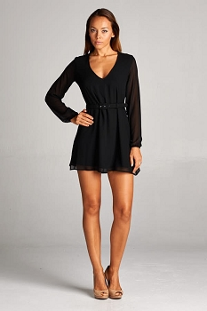 Inance Long Sleeve Mini Party Cocktail Dress - 2 Color Choices