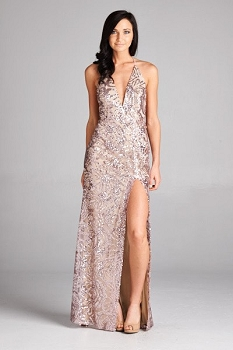 Inance V Cut Slip Front Sequined Gown As Seen on Tonia Ryan on NBC