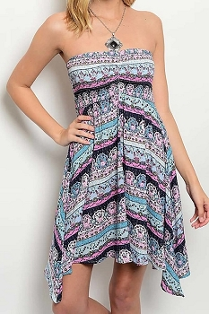 Smazy by Inance Geo Print Strapless Dress