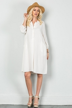 Inance Pop to the Shops Shirt Dress Milk White - Made In The USA