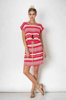 Inance Striped Casual Tie Waist Dress - 6 Color Choices - Made in the USA